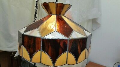 "Tan Brown Leaded Stained Glass Hanging Swag Lamp Vintage 19"" Shade"
