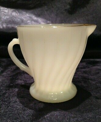 Vintage Anchor-Hocking Fire-King 1963-76; Golden Shell (Shell) Footed-Creamer