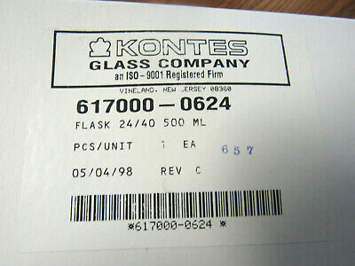 KONTES GLASS CO 24/40 500ml Laboratory Glass Flask  617000-0624