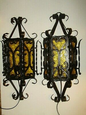 Spanish Revival Wrought Iron Amber Glass Outdoor Wall Light Fixture # 1641-1-2