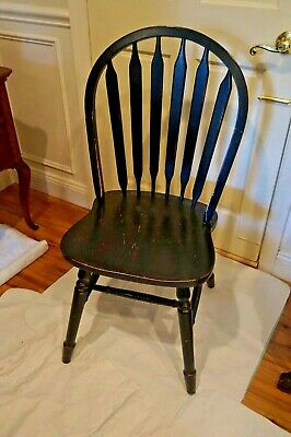 Vintage Shabby Windsor Chair Black  Sturdy And Solid