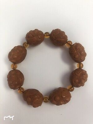 Chinese Olive nucleus master hand carved Lotus seeds flower statue Bracelet A