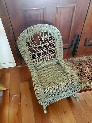 Antique Green Children's Wicker Rocking Chair