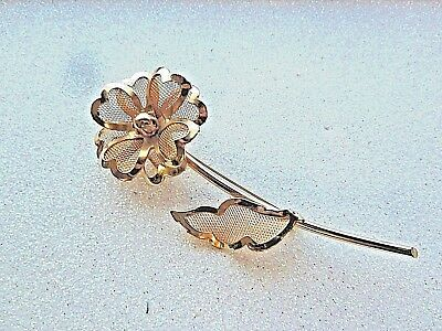 Vintage Gold Plated? Mesh Flower Brooch