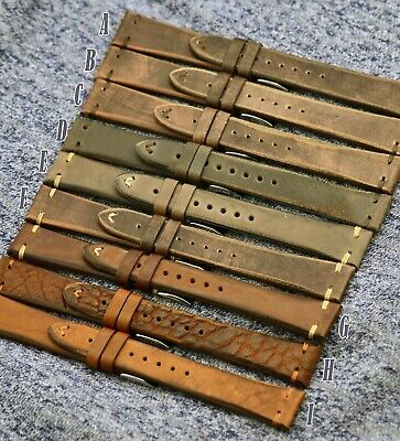 19mm Handmade Italian Leather Vintage Style Sports Strap For Seiko 6139, 5126