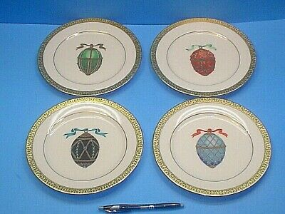 Four Gold Buffet Royal Gallery Faberge Eggs Salad Plates 8-1/2''