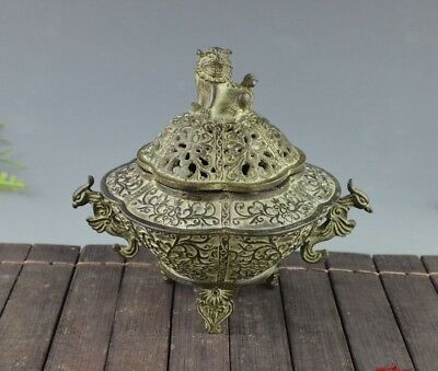 Chinese Dynasty Palace Old Bronze Carved Lion Hollow out Incense Burner Mark