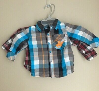 2 Boys Sz 12 Months Long Sleeve Plaid Shirts Chaps Beverly Hill Polo