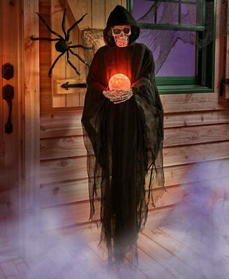 HALLOWEEN Life Size Psychic GRIM REAPER Haunted House Lighted Crystal Ball