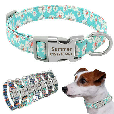 Nylon Personalized Dog Collars Flower Stripe Pet ID Name Engraved Collar Dogs