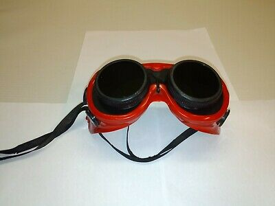 Vintage JP Welding Goggles Red w/ Black rims STEAMPUNK EXCELLENT Condition RARE