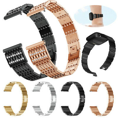 Luxury Comfortable Durable Metal Crystal Watch Band Wrist Strap For Fitbit Versa