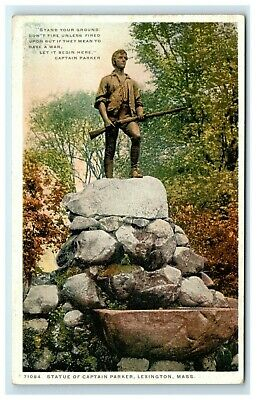 Postcard Statue of Captain Parker, Lexington, Mass MA Phostint F48 * 3