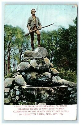 Postcard Statue of Captain Parker, Lexington, Mass MA udb F48 * 2