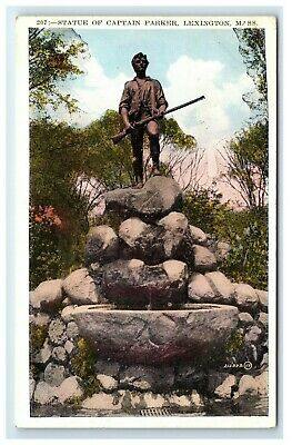 Postcard Statue of Captain Parker, Lexington, Mass MA F48 * 4