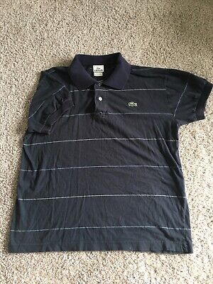 NWT Lacoste Slubbed Jersey Polo with Self Collar Open Sleeve Navy Blue MSRP $98