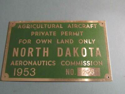 1953 North Dakota Agricultural Aircraft Commercial Licence Plate Aeronautics