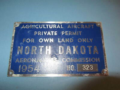 1954 North Dakota Agricultural Aircraft Commercial Licence Plate Aeronautics
