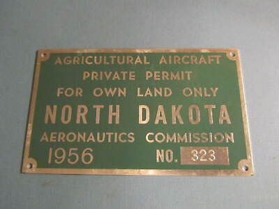 1956 North Dakota Agricultural Aircraft Commercial Licence Plate Aeronautics
