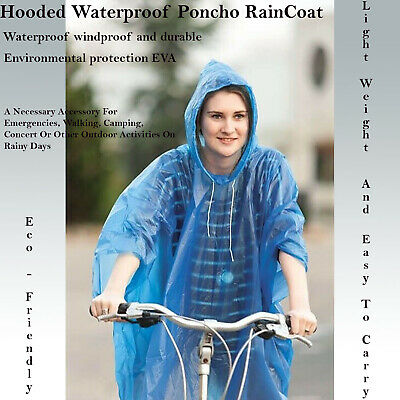 Disposable Emergency Waterproof Plastic Rain Coat Mac Poncho Concert Festival C