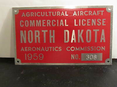 1959 North Dakota Agricultural Aircraft Commercial Licence Plate Aeronautics