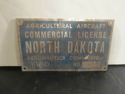 1960 North Dakota Agricultural Aircraft Commercial Licence Plate Aeronautics