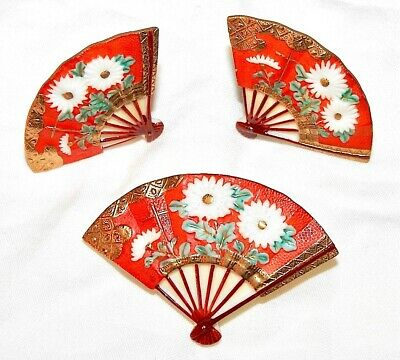 Toshikane Set Brooch Earrings IOB Red Fans with White Flowers Signed Vintage