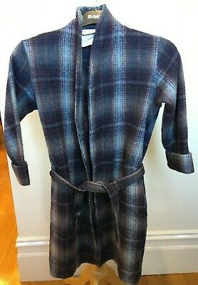 FREE REIN Vintage Boys Grey Brown Tartan Wool Blend Dressing Bedroom Gown 10