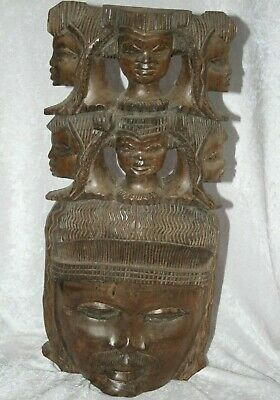 Rare Vintage Hand Carved Large & Heavy African Tribal Art, Seven Faces Of Man.