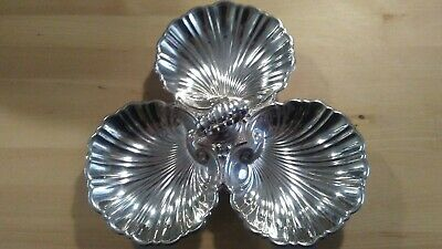 FB Rogers Silver on Copper Tri-Section Scalloped Dish