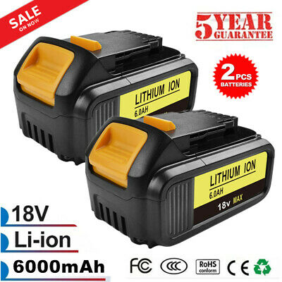 2X 18V 6.0Ah Li-Ion Battery for Dewalt DCB182 DCB200 DCB181 DCB180 DCB184 Tools