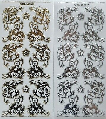 Double Embossed on Clear CHRISTMAS Corners PEEL OFF STICKERS Bells Candles