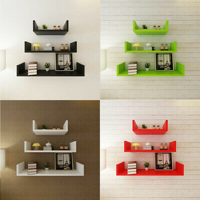 3 MDF Floating Cubes Wall Storage Book CD Display Shelves U-shaped 4 Colours