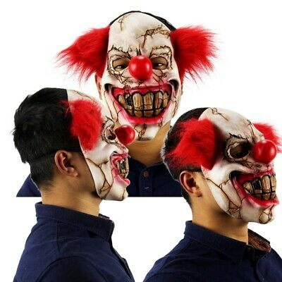 Full Face Latex Mask Scary Clown Halloween Costume Creepy Evil Adult Horror F