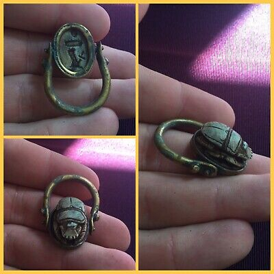 Rare ancient Egyptian brass/bronze scarab beetle ring, 300 bc