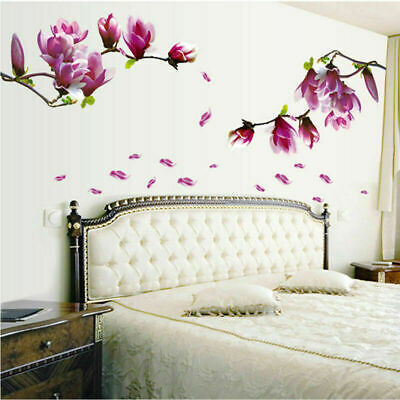 Chic Magnolia Flowers Removable Wall Stickers Arts Vinyl Decal Home DIY Decor UK