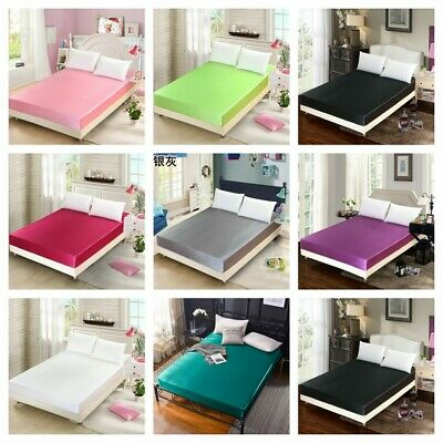 Microfiber 1pc Fitted Sheet [ONLY] Queen King Size Solid Bed Cover Silk-Like
