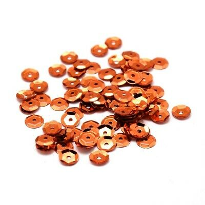 Packet 30g Orange 6-7mm Cupped Acrylic Sequins (Loose) Sewing Jewellery Making