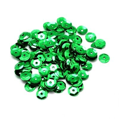 Packet 30g Dark Green 6-7mm Cupped Acrylic Sequins (Loose) Sewing DIY Jewellery