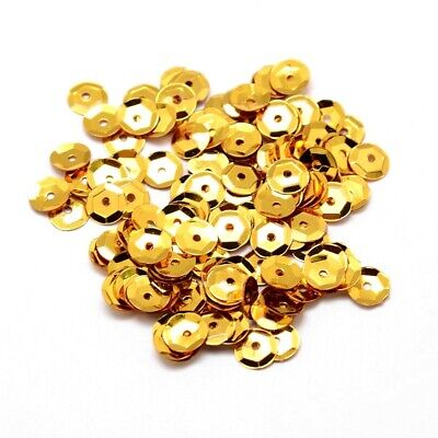 Packet 30g Gold 6-7mm Cupped Acrylic Sequins (Loose) Sewing DIY Jewellery Making