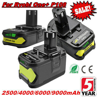 2.5Ah 4.0Ah 6.0Ah 9.0Ah Li-ion Battery For Ryobi ONE+ P108 P107 P104 P102 P105