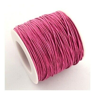 1 x Pink Waxed Cotton 5m x 1mm Thong Cord Continuous Length Sewing DIY Jewellery