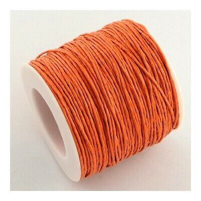 1 x Orange Waxed Cotton 5m x 1mm Thong Cord Continuous Length Sewing Jewellery