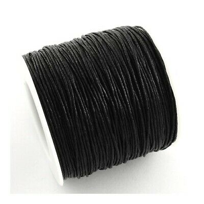 1 x Black Waxed Cotton 5m x 1mm Thong Cord Continuous Length Sewing Jewellery