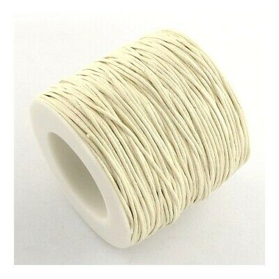 1 x Cream Waxed Cotton 5m x 1mm Thong Cord Continuous Length Sewing Jewellery