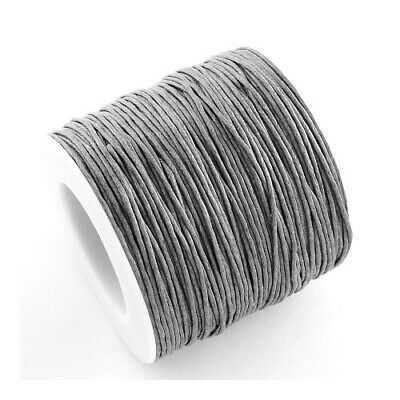 1 x Grey Waxed Cotton 5m x 1mm Thong Cord Continuous Length Sewing DIY Jewellery