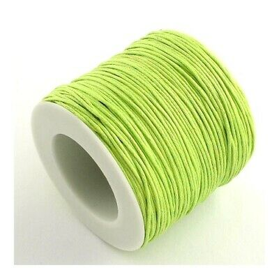 1 x Yellow/Green Waxed Cotton 5m x 1mm Thong Cord Continuous Length Sewing DIY