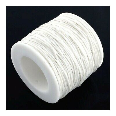 1 x White Waxed Cotton 5m x 1mm Thong Cord Continuous Length Sewing Jewellery