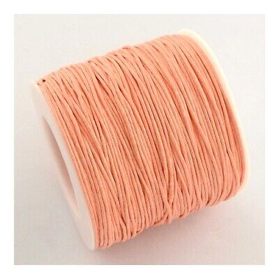 1 x Peach Waxed Cotton 5m x 1mm Thong Cord Continuous Length Sewing Jewellery