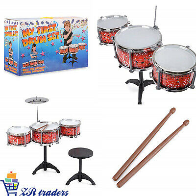 My First Drum Set Kit For Kids With Cymbol Sticks & Seat For Children Xmas Gift